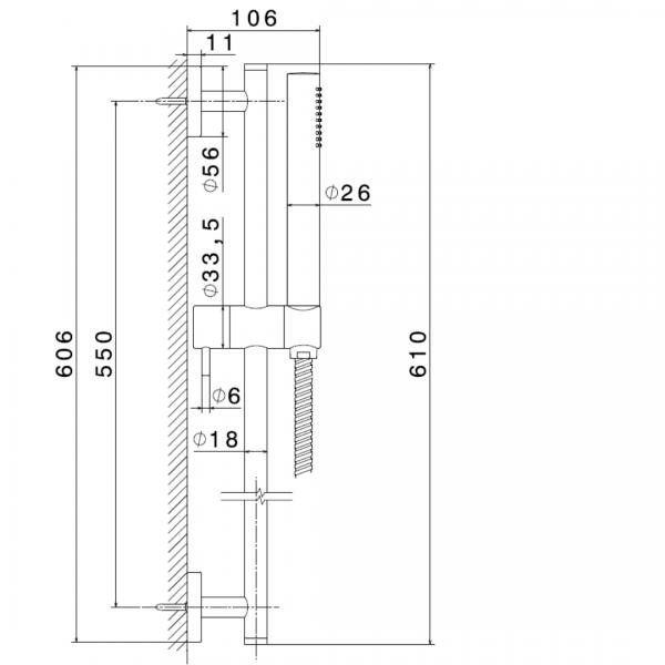 61356 Newform Xt MiniX Wellness Handshower and rail set_Stiles_TechDrawing_Image