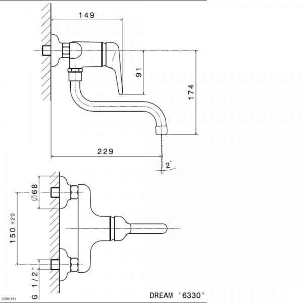 6330 Newform Dream Sink Mixer_Stiles_TechDrawing_Image