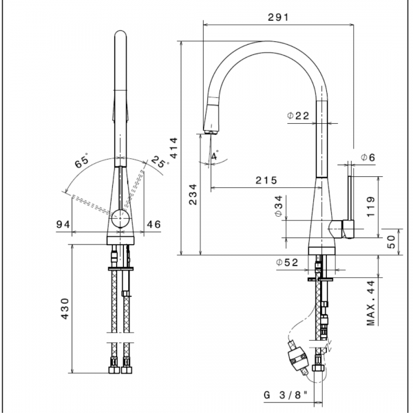 64215B Newform YCon Matt Black Sink Mixer (with pull out spout)_Stiles_TechDrawing_Image
