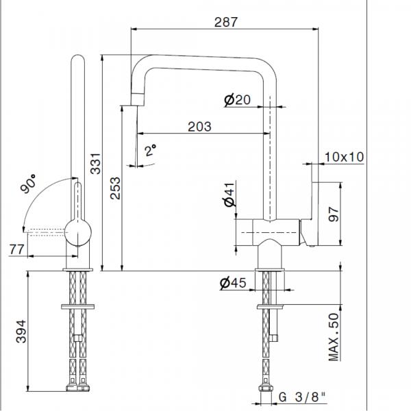 65920 Newform Ergo Sink Mixer_Stiles_TechDrawing_Image