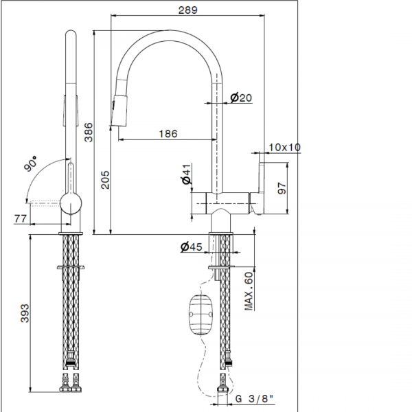 65925 Newform Ergo Double Jet Sink Mixer (with pull out swivel spout)_Stiles_TechDrawing_Image