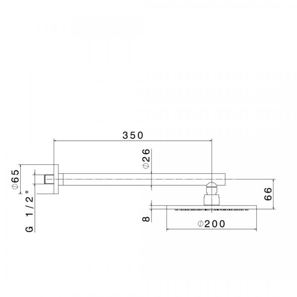 67793 Newform XT Rainshower Rose and Arm 200mm_Stiles_TechDrawing_Image