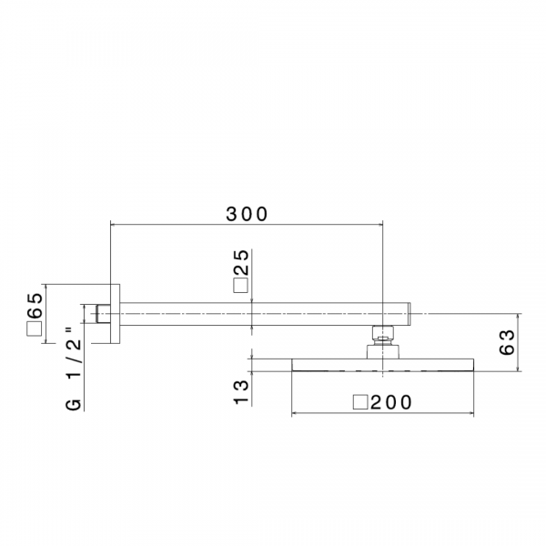 67797 Newform Ergo Q Square Shower rose and arm_Stiles_TechDrawing_Image