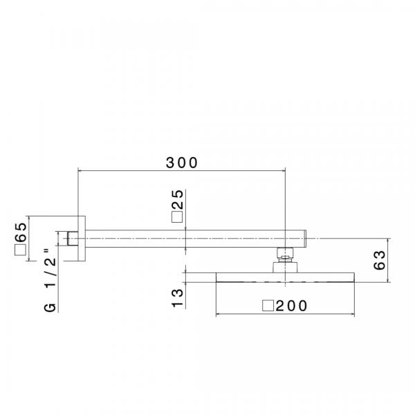 67797B Newform Ergo Q Matt Black Square Shower Rose and Arm_Stiles_TechDrawing_Image