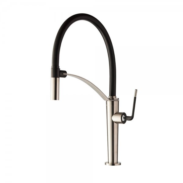 687305 Newform ORama Chrome Matt Black Sink Mixer and adjust spout_Stiles_Product_Image