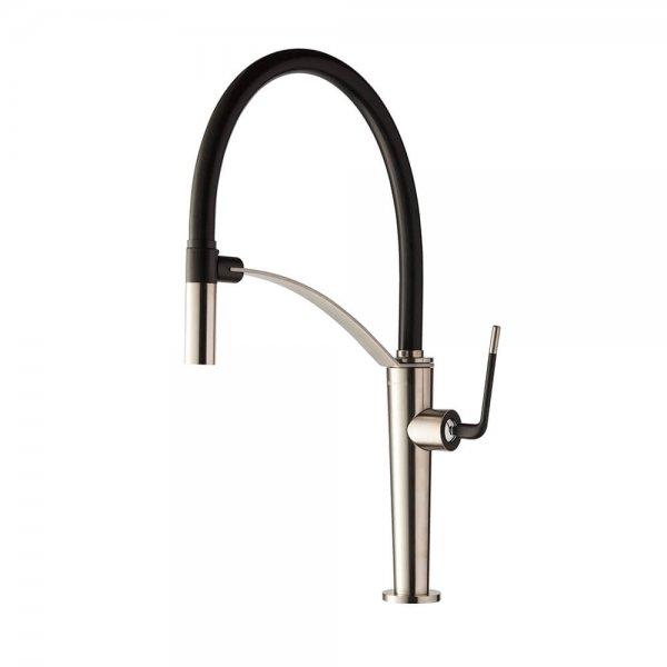 687305 Newform ORama Chrome Matt Black Sink Mixer and adjust spout_Stiles_Product_Image
