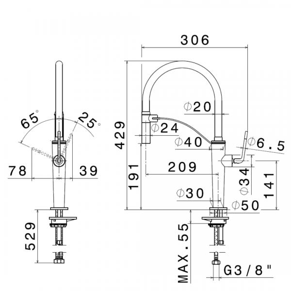 687305 Newform ORama Chrome Matt Black Sink Mixer and adjust spout_Stiles_TechDrawing_Image