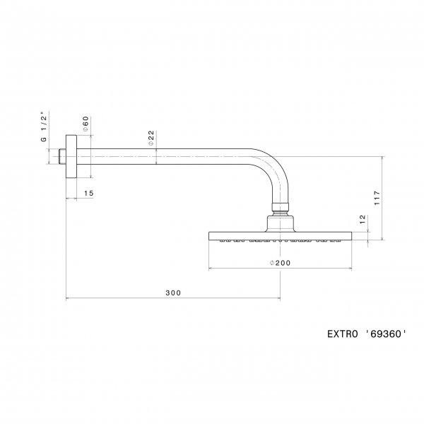 69360 Newform Extro Rose & Arm 200mm_Stiles_TechDrawing_Image
