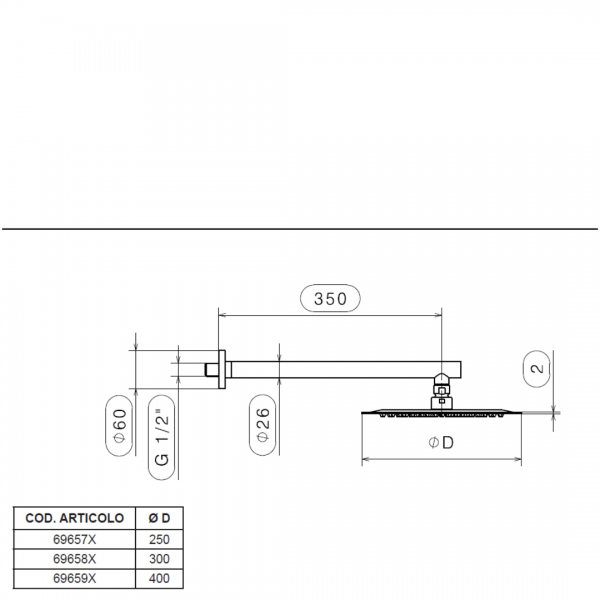 69657X Newform X-Steel Shower Rose and Arm_Stiles_TechDrawing_Image