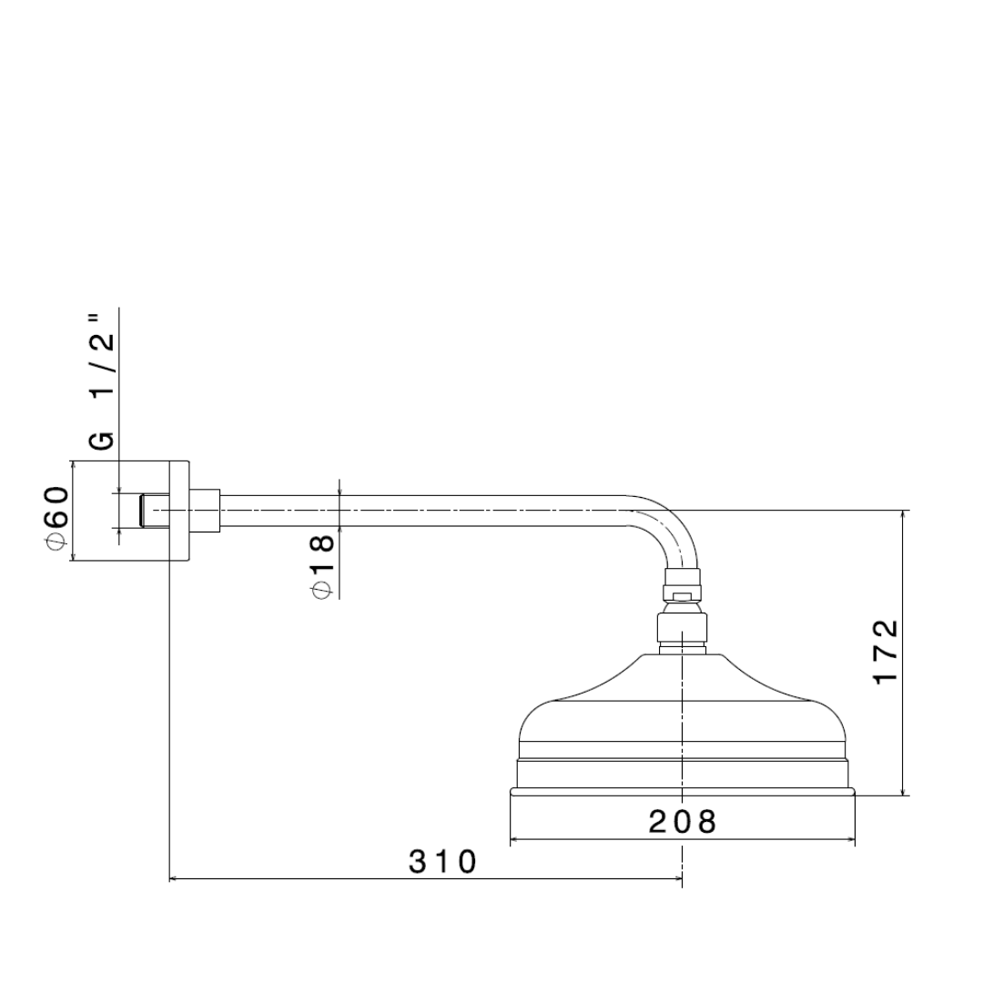 9492.2 Newform Antea Shower Rose and Arm 200mm_Stiles_TechDrawing_Image
