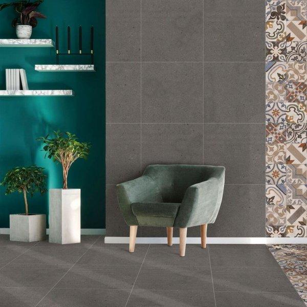 Ceramic Industries Nostalgia Charcoal Eco 600x600mm_Stiles_Lifestyle_Image