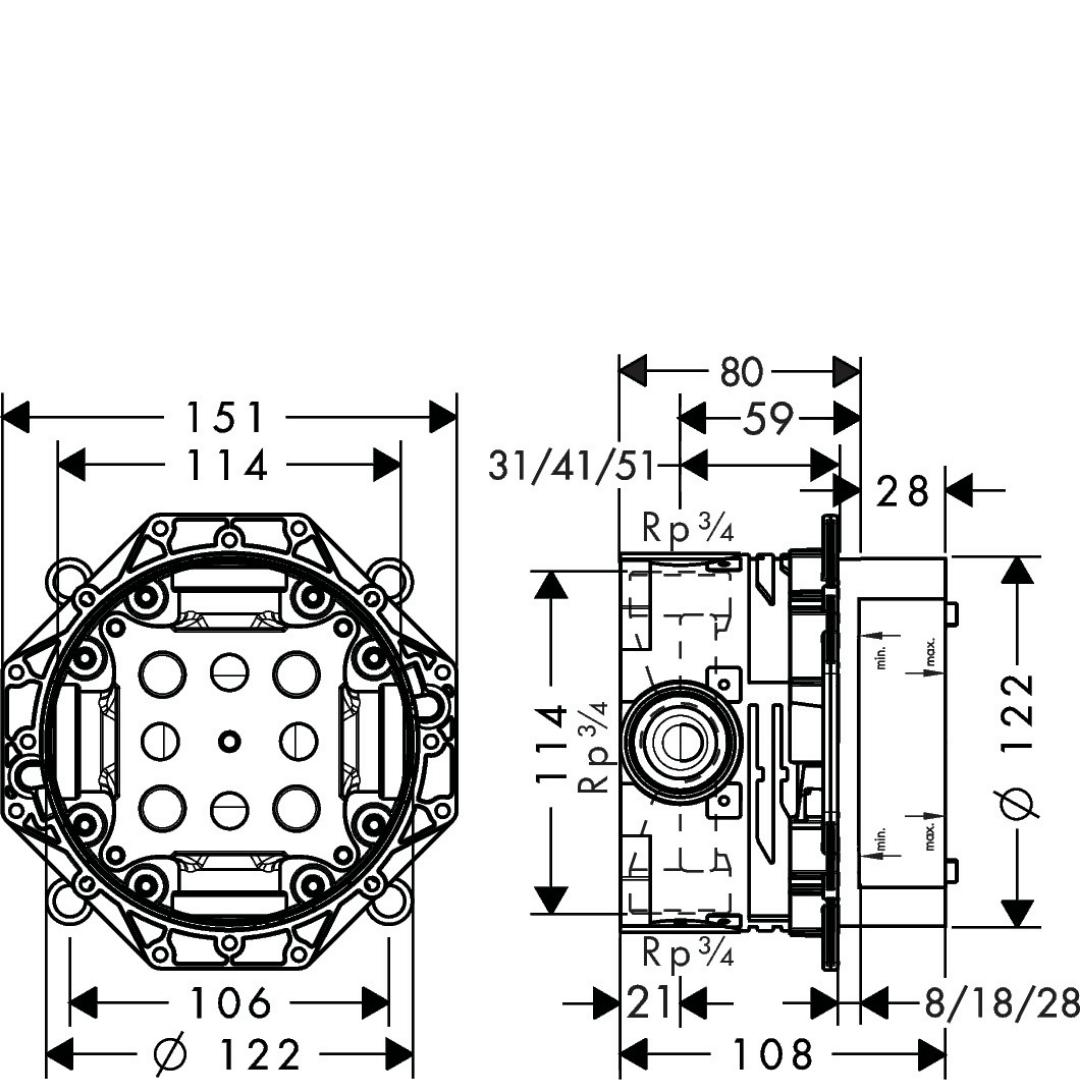 01800180 Hansgrohe Universal iBox 122mm_Stiles_TechDrawing_Image