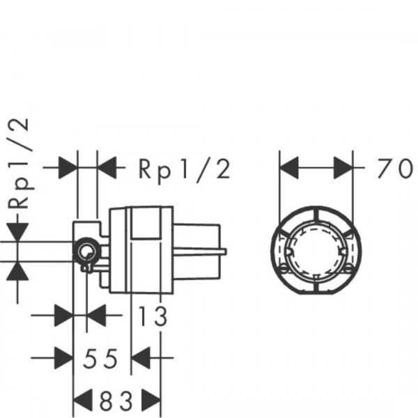 13620180 Hansgrohe iBox for Shower Mixer 70mm_Stiles_TechDrawing_Image