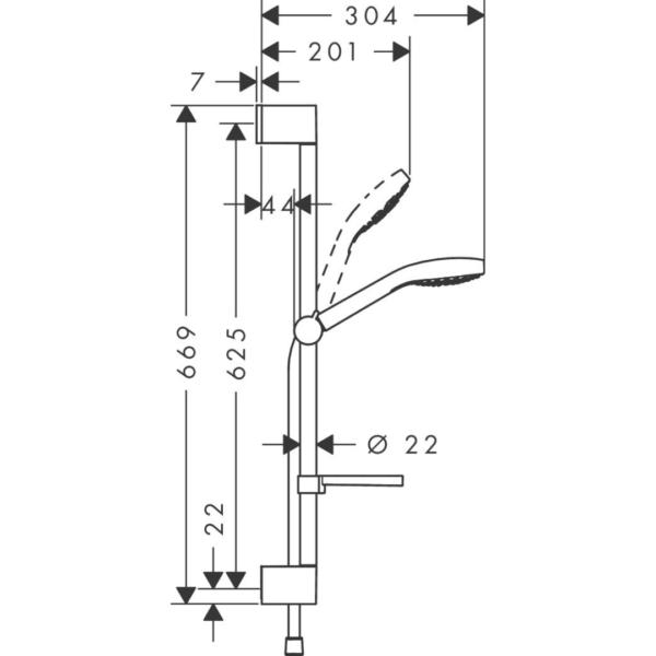 26586400 Hansgrohe Croma Select E White Chrome Shower Rail Set 110mm_Stiles_TechDrawing_Image