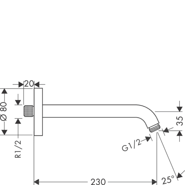 27412000 Hansgrohe Shower Arm 230mm_Stiles_TechDrawing_Image