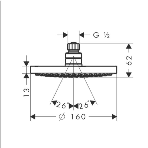 27450000 Hansgrohe Croma Shower Rose 160mm (1 Jet)_Stiles_TechDrawing_Image