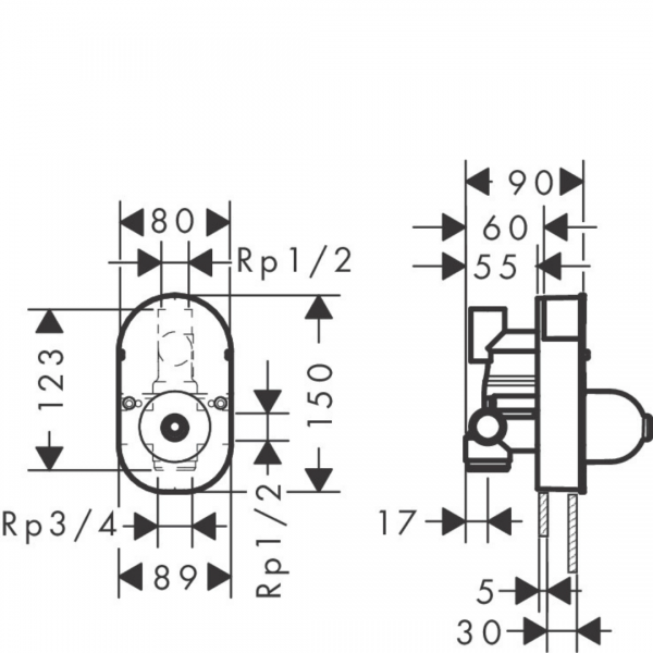 31741180 Hansgrohe iBox for Bath Mixer 123mm_Stiles_TechDrawing_Image