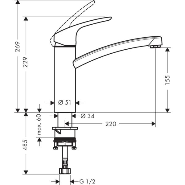 31806223 Hansgrohe Decor Sink Mixer 160mm (1 Jet)_Stiles_TechDrawing_Image