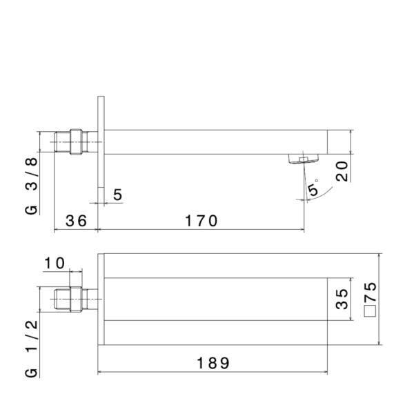 66437 N Ergo Q Bath Spout 170mm_Stiles_TechDrawing_Image