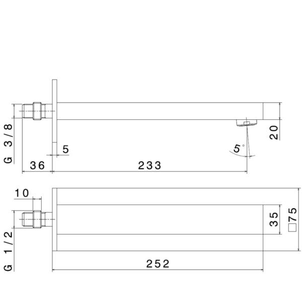 66438 N Ergo Q Basin Spout_Stiles_TechDrawing_Image