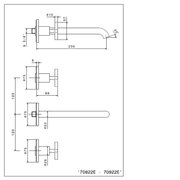 70822E_N Blink Brushed Bronze Basin set (3 piece)_Stiles_TechDrawing_Image