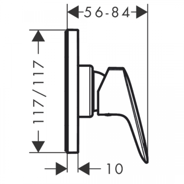 71604003 Hansgrohe Logis Shower Mixer 117mm_Stiles_TechDrawing_Image
