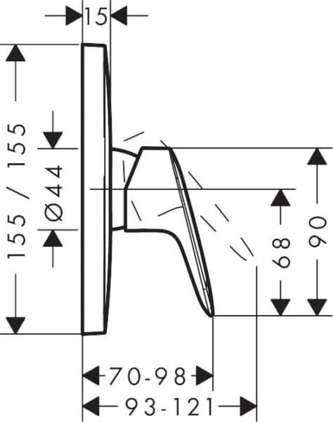 71605003 Hansgrohe Logis Shower Mixer 155mm_Stiles_TechDrawing_Image