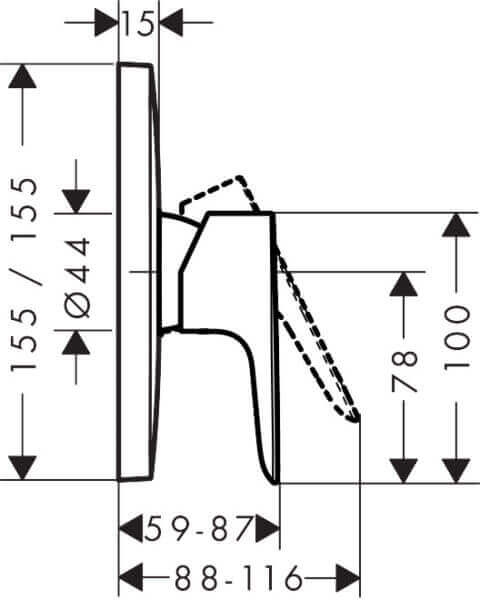 71765003 Hansgrohe Talis E Shower Mixer 155mm_Stiles_TechDrawing_Image