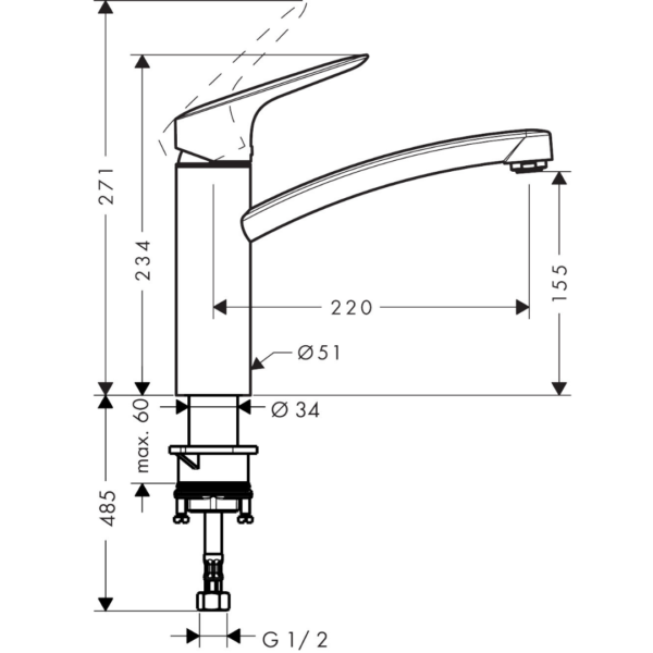 71832003 Hansgrohe Logis M31 Sink Mixer 160mm (with swivel spout)_Stiles_TechDrawing_Image