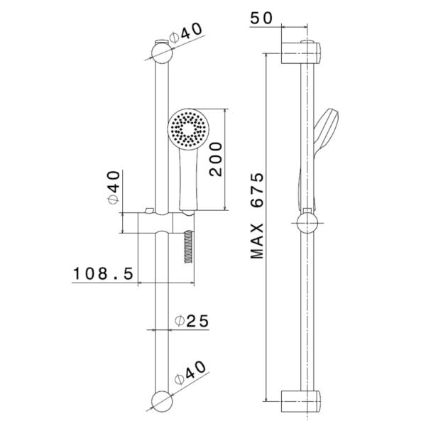 693562 Newform Extro Shower Rail Set_Stiles_TechDrawing_Image