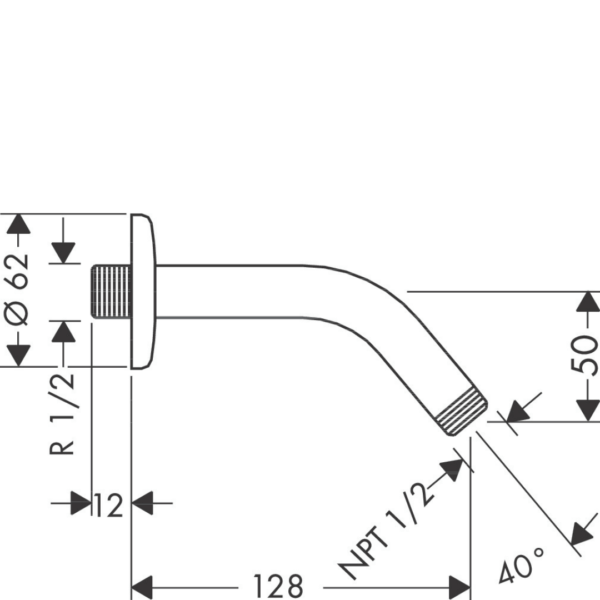 27411000-Hansgrohe-Shower-Arm-128mm_Stiles_TechDrawing_Image1