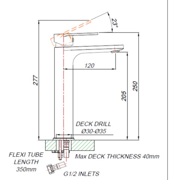 BA00012_BLUTIDE BAY BASIN MIXER RAISED 210mm_Stiles_TechDrawing_Image