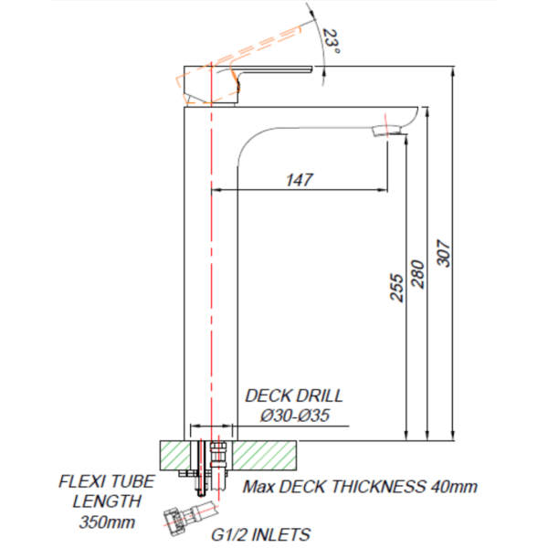 DL00012_BLUTIDE DUNE BASIN MIXER RAISED 250mm_Stiles_TechDrawing_Image