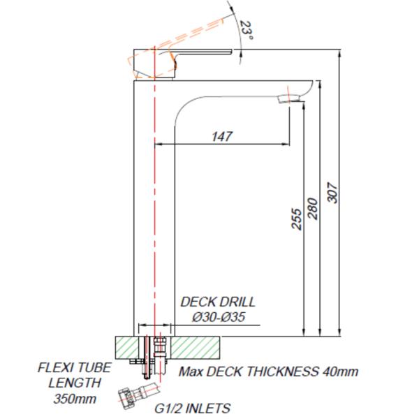 DL0B012_BLUTIDE DUNE BLACK BASIN MIXER RAISED 250mm_Stiles_TechDrawing_Image