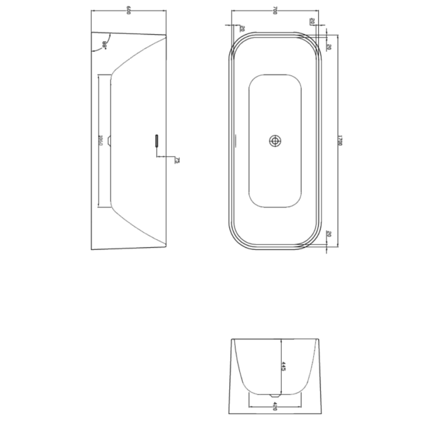 Duravit Eclipse FS Bath 1700x700mm_Stiles_TechDrawing_Image
