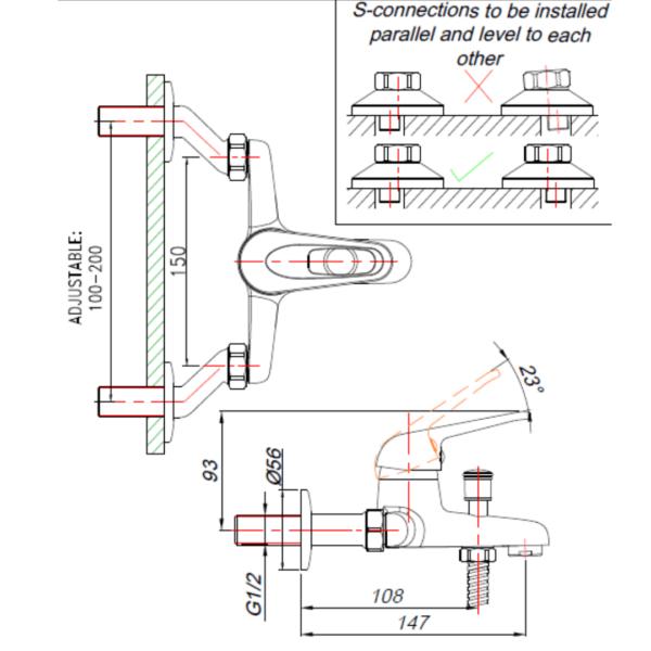 MT00029 BLUTIDE MIXED Loop BATH MIXER_Stiles_TechDrawing_Image