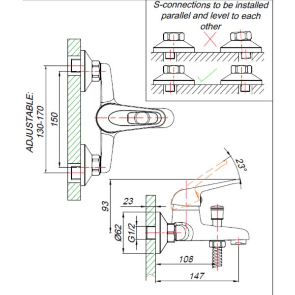 MT00030 BLUTIDE MIXED Loop BATH MIXER_Stiles_TechDrawing_Image