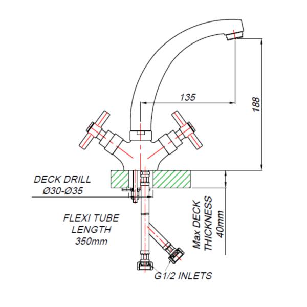 NT00013_BLUTIDE NEAP BASIN MIXER Swivel SPOUT_Stiles_TechDrawing_Image