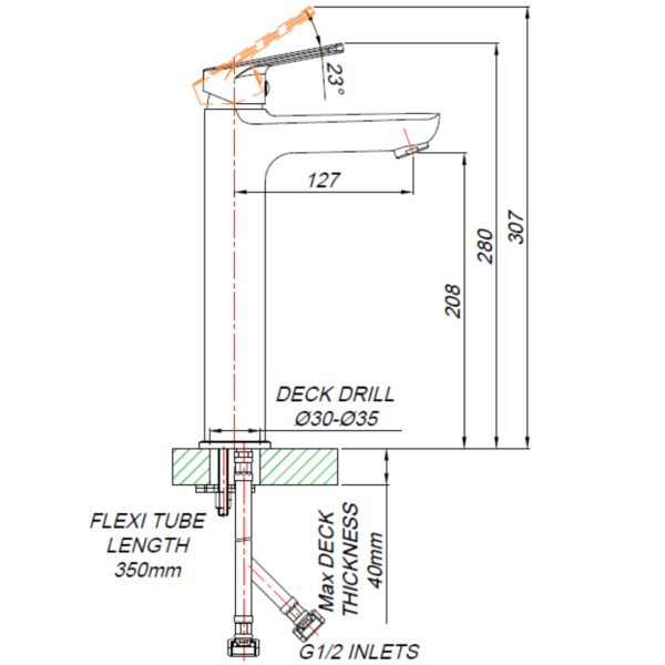 ST00012_BLUTIDE SPRING BASin MIXer RAISED 210mm_Stiles_TechDrawing_Image