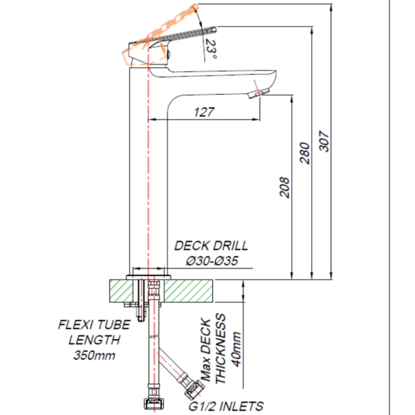 ST0B012_BLUTIDE BLACK SPRING BASin MIXer TALL 210mm_Stiles_TechDrawing_Image