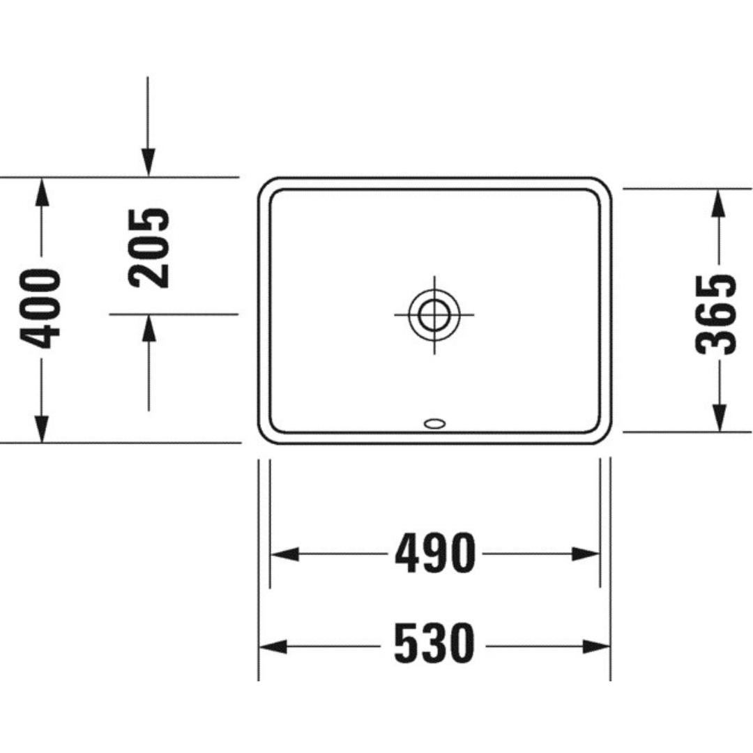 030549 Duravit Starck 3 undercounter basin 490x365mm_Stiles_TechDrawing_Image