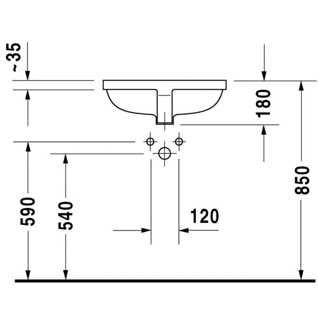 030549 Duravit Starck 3 undercounter basin 490x365mm_Stiles_TechDrawing_Image2