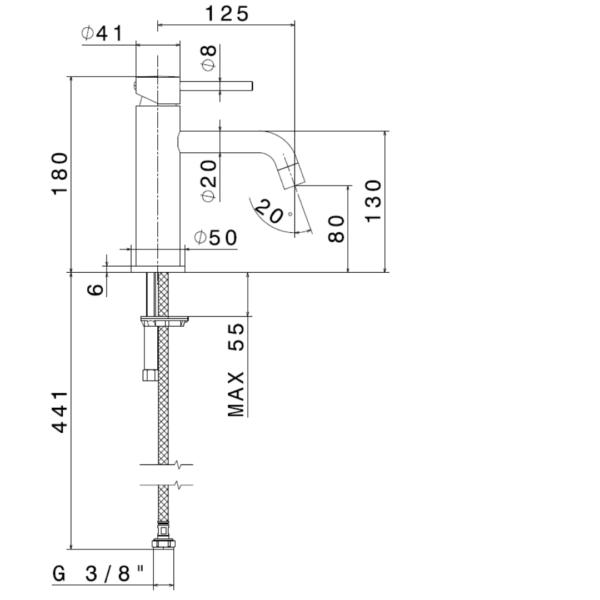 4208GM N XT Gun Metal Basin Mixer_Stiles_TechDrawing_Image