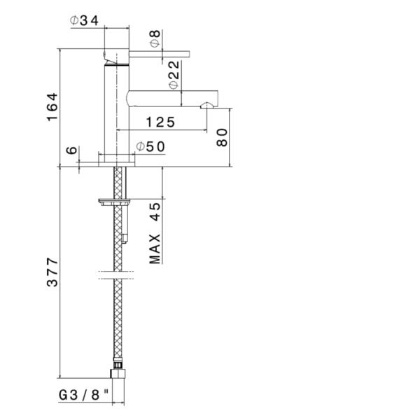 613081 N Mini-X Matt White Basin Mixer_Stiles_TechDrawing_Image