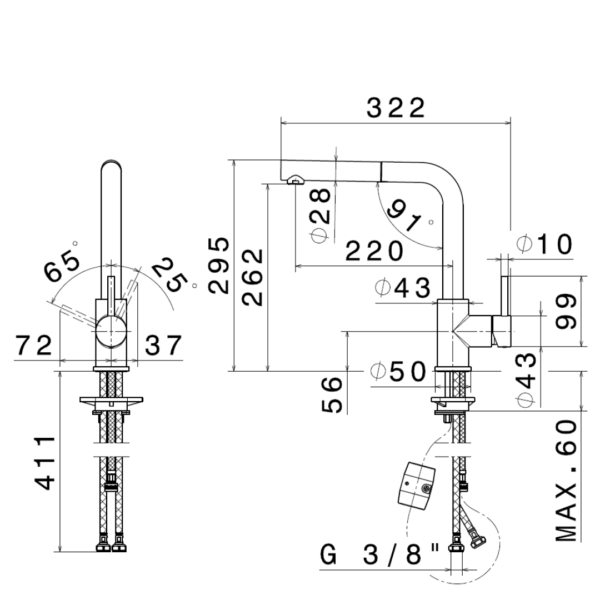 63425X Newform Real Steel Sink Mixer with pull out spout_Stiles_TechDrawing_Image
