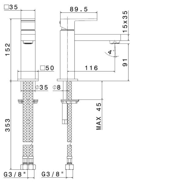 664124 N Ergo Q Matt White Basin Mixer_Stiles_TechDrawing_Image