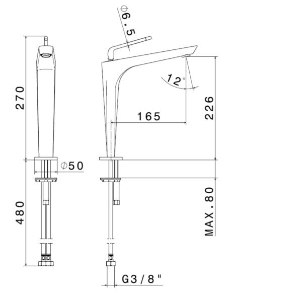 684155 Newform ORama Tall Gunmetal Basin Mixer_Stiles_TechDrawing_Image