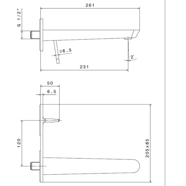 68431E N ORama Brushed Chrome Basin Mixer_Stiles_TechDrawing_Image