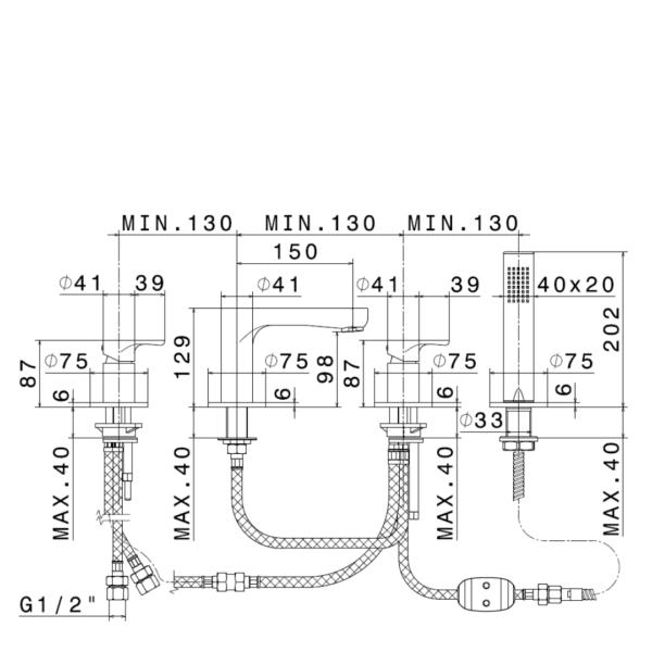 69482M N Linfa II Copper Bath Set_Stiles_TechDrawing_Image