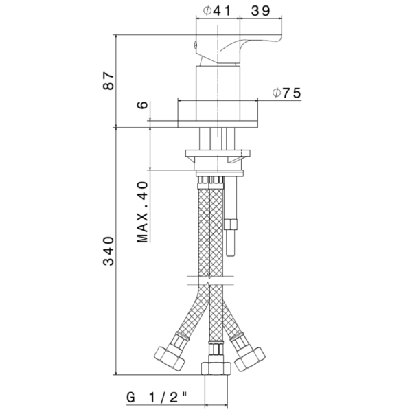 69490 Newform Linfa II Bath Mixer_Stiles_TechDrawing_Image